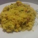 Riso Basmati al curry con pancetta mais e zucchine