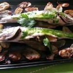 Spigole al forno con patate novelle